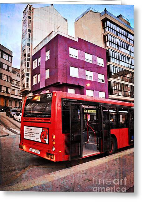 Bus Stop Greeting Cards - Bus Stop - La Coruna Greeting Card by Mary Machare