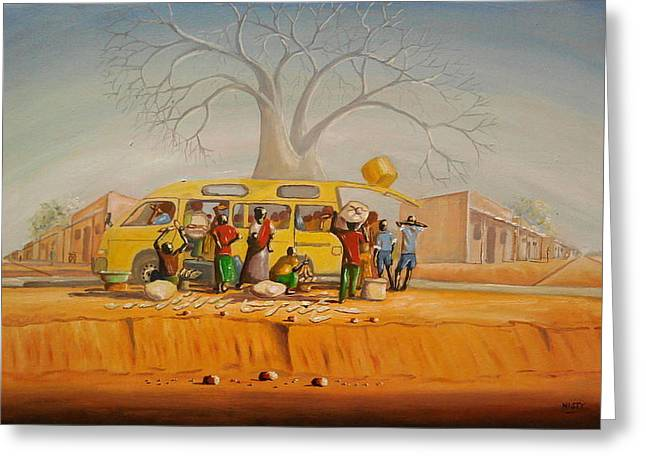Bus Ride Greeting Cards - Bus Stop Greeting Card by Nisty Wizy