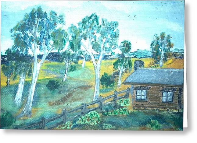 Shack Mixed Media Greeting Cards - Bush Cabin Greeting Card by Julie Butterworth