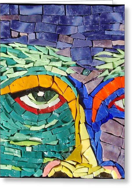 Detail Glass Art Greeting Cards - Bushy Brows - Fantasy Face No.2 Greeting Card by Gila Rayberg