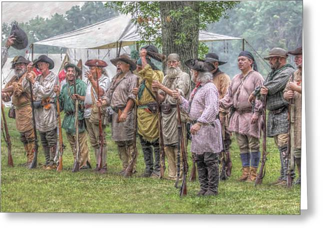 French And Indian War Greeting Cards - Bushy Run Milita Camp Roll Call Greeting Card by Randy Steele