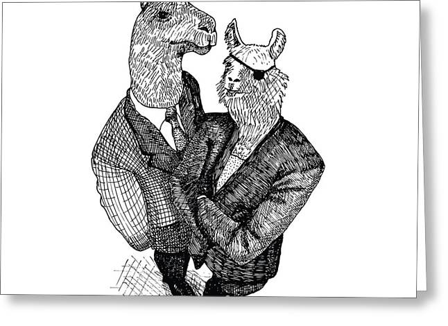 Patch Drawings Greeting Cards - Business Llamas Greeting Card by Karl Addison
