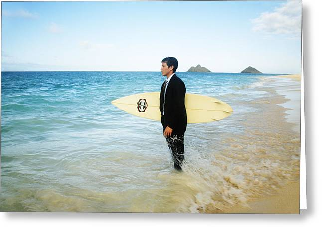 Surfing Art Greeting Cards - Business man at the beach with surfboard Greeting Card by Brandon Tabiolo - Printscapes