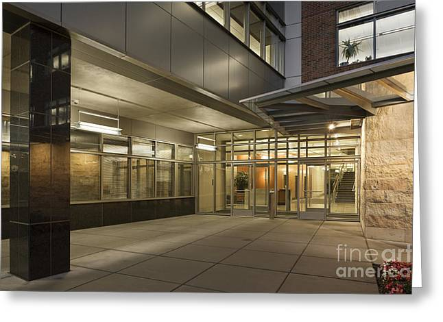 Entryway Greeting Cards - Business Office Building Entrance Greeting Card by Robert Pisano