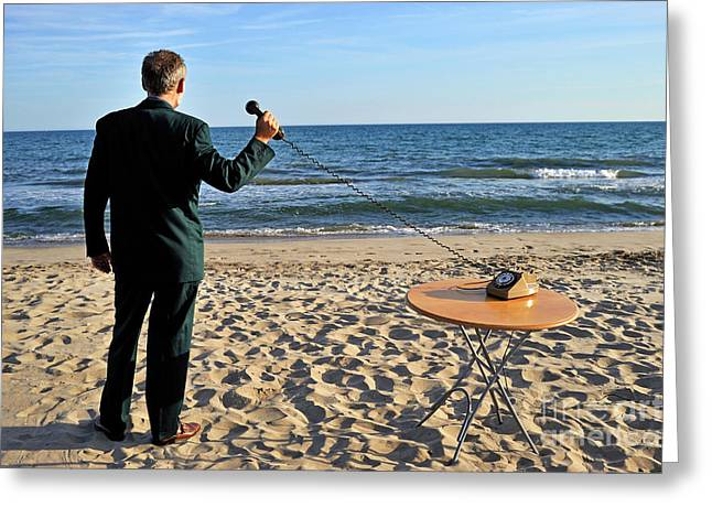 On The Phone Greeting Cards - Businessman on beach with Landline Phone receiver Greeting Card by Sami Sarkis