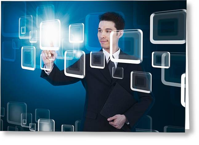 Businessman Pressing Touchscreen Greeting Card by Setsiri Silapasuwanchai