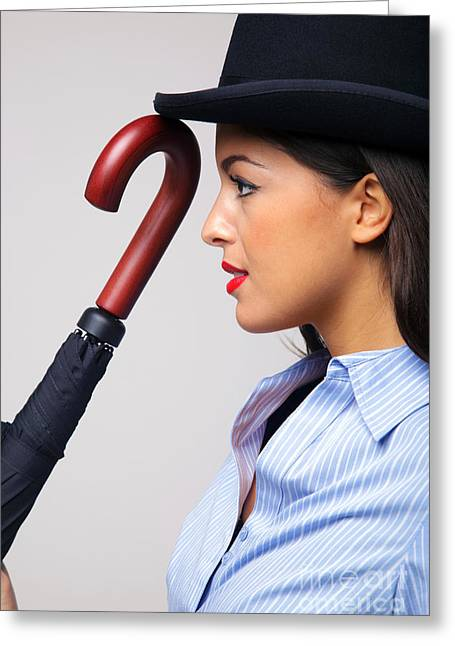 Eye Gestures Greeting Cards - Businesswoman in bowler hat with umbrella. Greeting Card by Richard Thomas