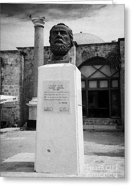 Ammochostos Greeting Cards - Bust Statue Of Namik Kemal In Namik Kemal Square Famagusta Turkish Republic Of Northern Cyprus Trnc Greeting Card by Joe Fox