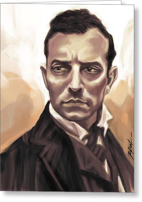 Buster Keaton Greeting Card by Kamal Anjelo
