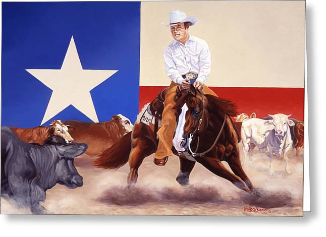 Lone Horse Paintings Greeting Cards - Buster Welch On Peppy San Badger Greeting Card by Howard Dubois