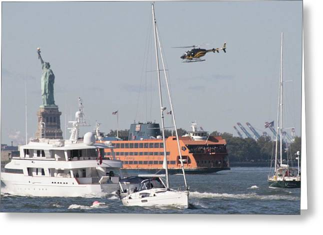 Staten Island Ferry Greeting Cards - Busy Harbor Greeting Card by Christopher Kirby