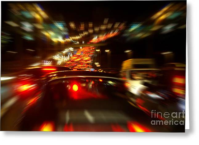 Headlight Greeting Cards - Busy Highway Greeting Card by Carlos Caetano
