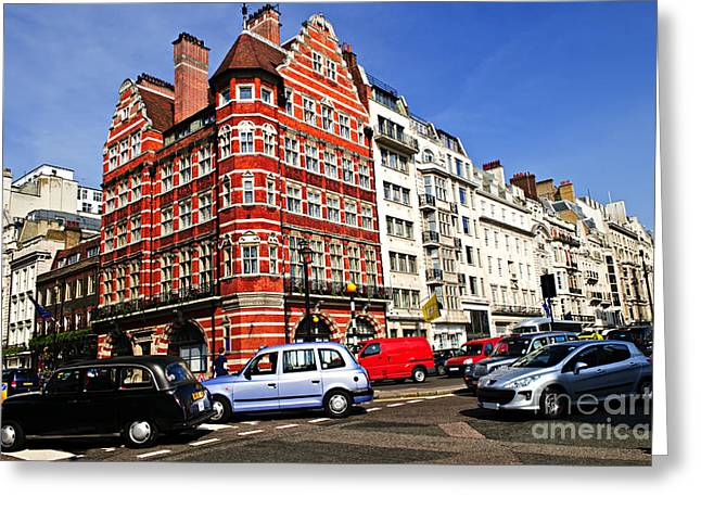 English Car Greeting Cards - Busy street corner in London Greeting Card by Elena Elisseeva