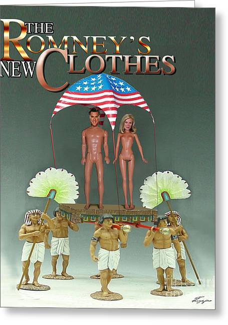 Political Satire Greeting Cards - But-But They Are Not Wearing Any Clothes - Mitt Ken and Anne Barbie Romney  Greeting Card by Reggie Duffie