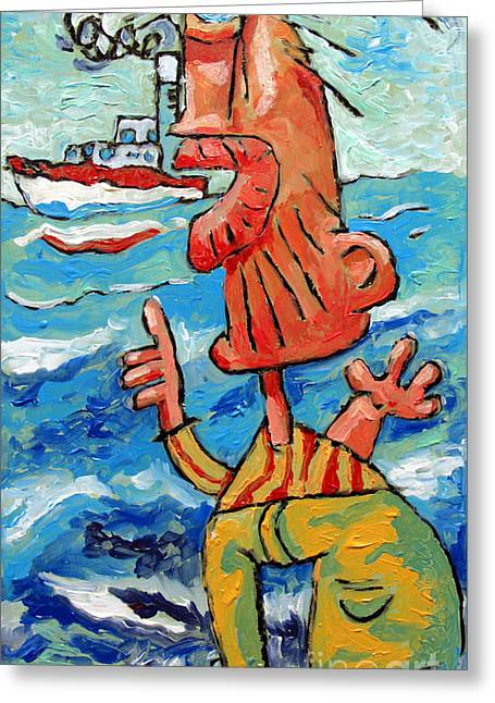 Boats In Water Greeting Cards - But That Was My Boat Greeting Card by Charlie Spear
