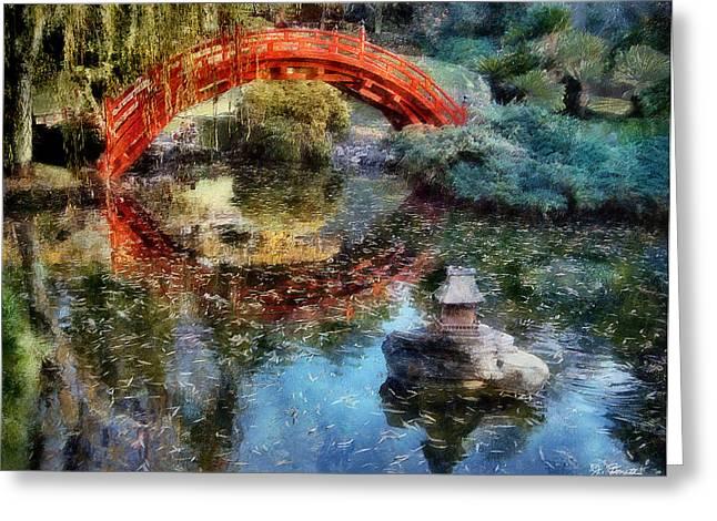 Butchart Gardens Greeting Cards - Butchart Gardens Bridge Greeting Card by Joe Bonita