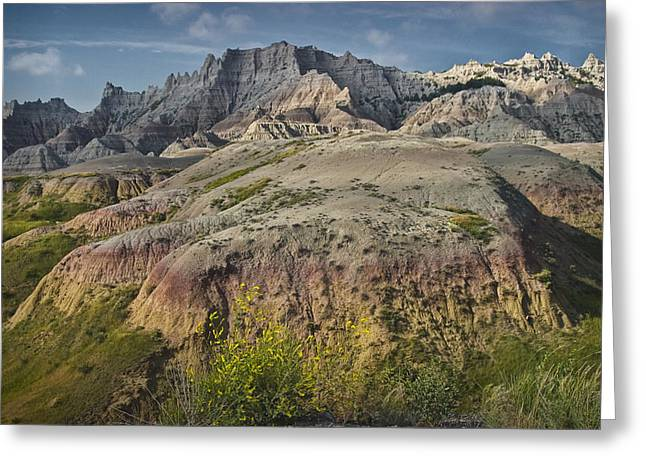 Oglala Lakota Art Photographs Greeting Cards - Butte formation in Badlands National Park Greeting Card by Randall Nyhof
