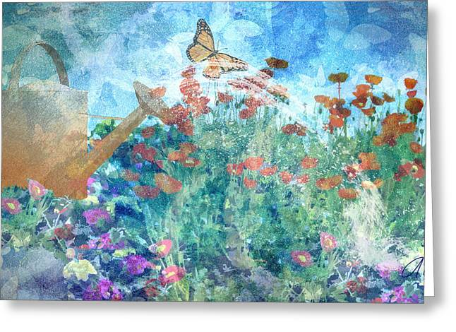 Water Garden Mixed Media Greeting Cards - Butterflies In The Garden Greeting Card by Arline Wagner