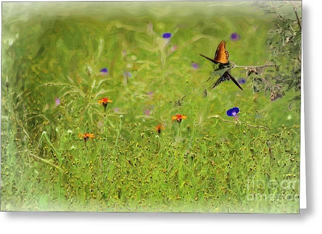 John Kolenberg Greeting Cards - Butterflies Making Love In The Meadow Greeting Card by John  Kolenberg