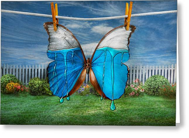 Clothes Pins Greeting Cards - Butterfly - Morpho - I hate it when the colors run Greeting Card by Mike Savad