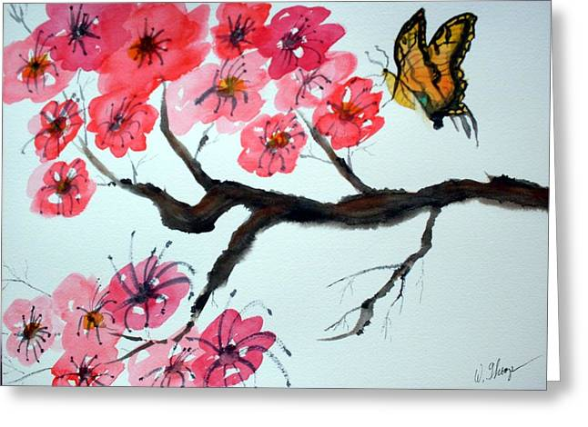 Cherry Blossoms Paintings Greeting Cards - Butterfly and Blossoms Greeting Card by Warren Thompson