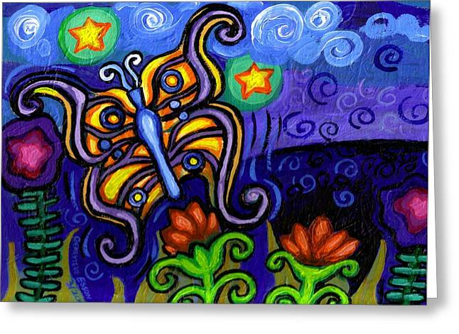 Canvas Panel Greeting Cards - Butterfly at Dusk Greeting Card by Genevieve Esson