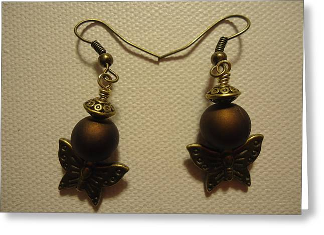 Insects Jewelry Greeting Cards - Butterfly Brown Earrings Greeting Card by Jenna Green
