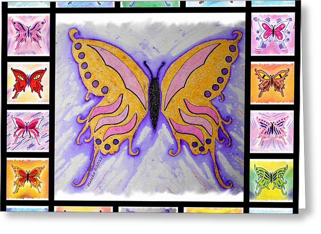 Cocoon Drawings Greeting Cards - Butterfly Collage Greeting Card by Mark Schutter