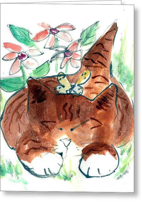 Drawings Of Cats Greeting Cards - Butterfly Dreams Greeting Card by Ellen Miffitt