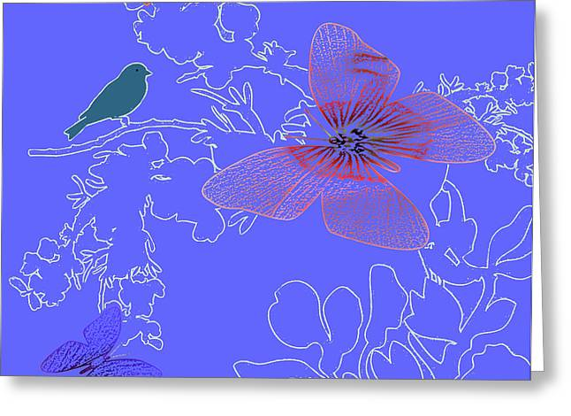 Lush Mixed Media Greeting Cards - Butterfly Floral 1 Greeting Card by Debra     Vatalaro
