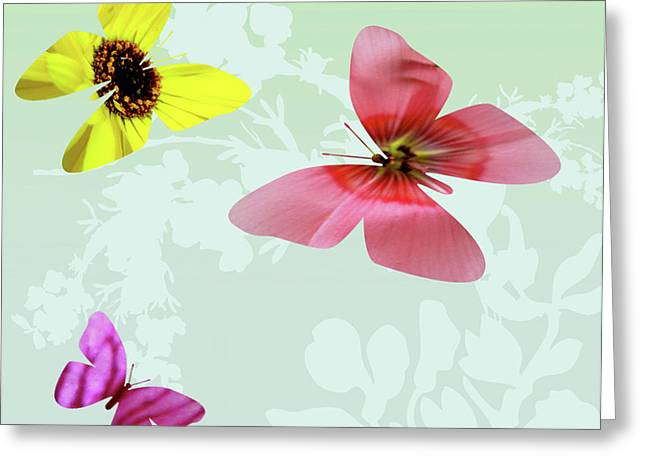 Lush Mixed Media Greeting Cards - Butterfly Floral  3 Greeting Card by Debra     Vatalaro