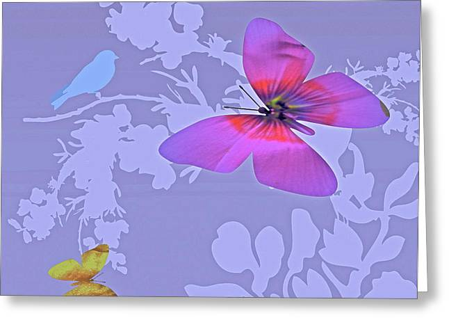 Lush Mixed Media Greeting Cards - Butterfly Floral  8 Greeting Card by Debra     Vatalaro