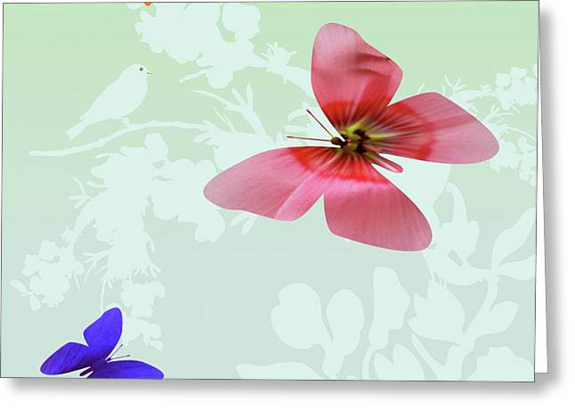 Lush Mixed Media Greeting Cards - Butterfly Floral Greeting Card by Debra     Vatalaro