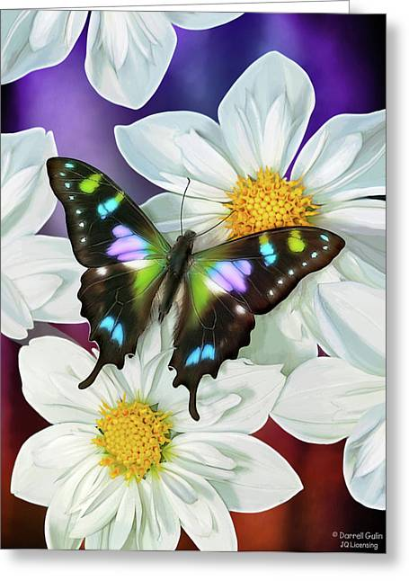 Song Birds Greeting Cards - Butterfly Flowers Greeting Card by JQ Licensing