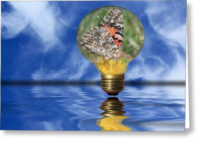 Insect Mixed Media Greeting Cards - Butterfly In Lightbulb - Landscape Greeting Card by Shane Bechler