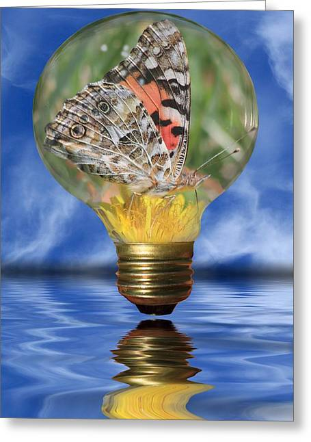 Glass Reflecting Greeting Cards - Butterfly In Lightbulb Greeting Card by Shane Bechler