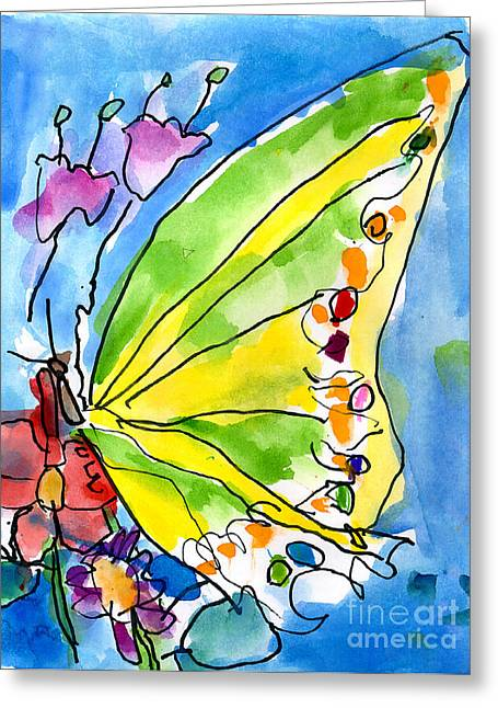 Watercolor. Butterfly Greeting Cards - Butterfly Greeting Card by Jeffrey Shutt Age Six