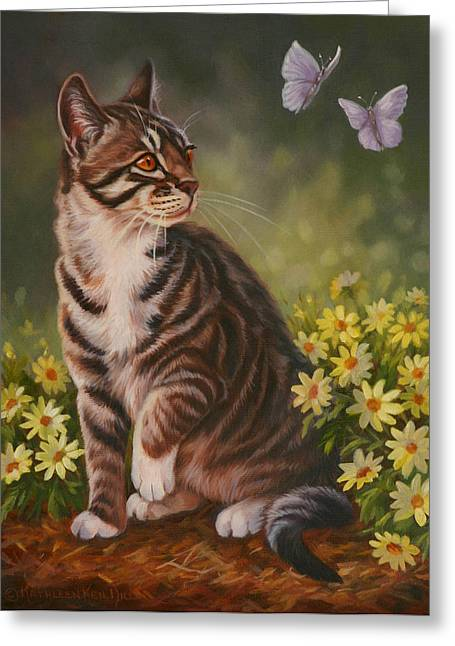 Butterfly Kisses Greeting Card by Kathleen  Hill