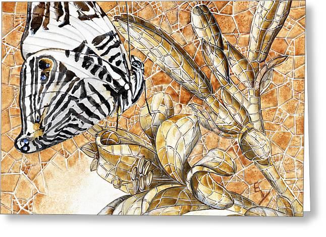Butterfly Mosaic 02 Elena Yakubovich Greeting Card by Elena Yakubovich