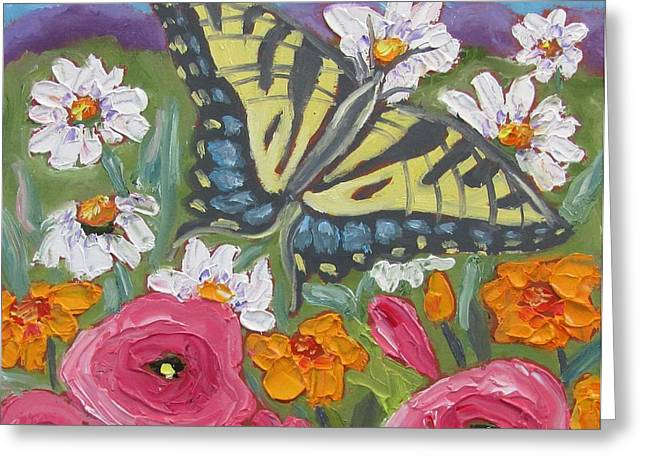 Pallet Knife Greeting Cards - Butterfly Range Greeting Card by Susan  Spohn