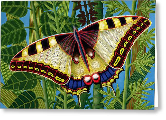 Foliage Paintings Greeting Cards - Butterfly Greeting Card by Tamas Galambos