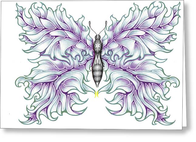 Rocks Drawings Greeting Cards - Butterfly Tattoo 2 Greeting Card by Karen Musick