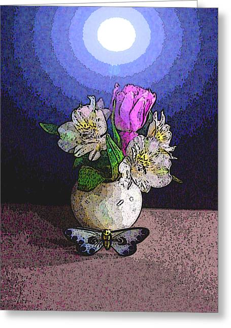 Visionary Artist Greeting Cards - Butterfly Vase Floral Greeting Card by George  Page