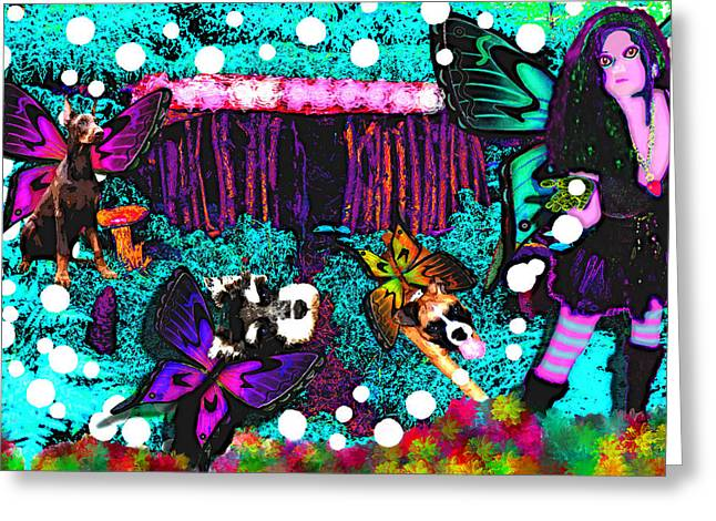 Best Sellers -  - Puppies Greeting Cards - Butterfly Village Greeting Card by Tisha McGee
