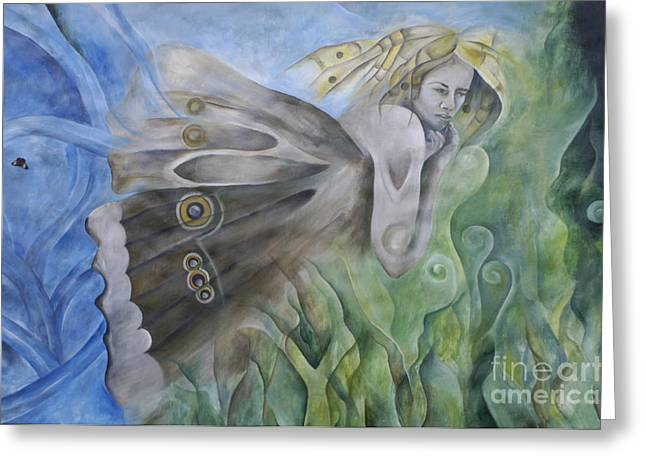 Butterfly Woman Costa Rica Greeting Card by Bob Christopher