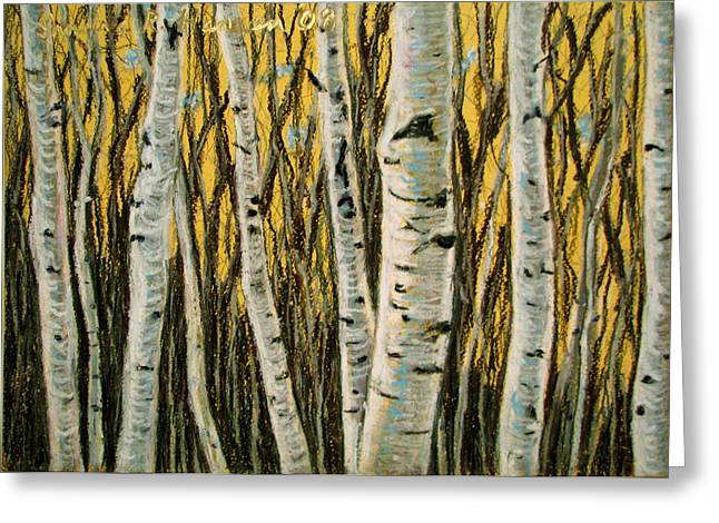 Birch Tree Pastels Greeting Cards - Buttery Birches Greeting Card by Art Nomad Sandra  Hansen