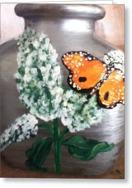 Flora Glass Art Greeting Cards - Buttlerfly Flower Miniature Vase Greeting Card by Berta Barocio-Sullivan