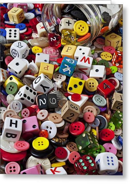 Mend Greeting Cards - Buttons and Dice Greeting Card by Garry Gay
