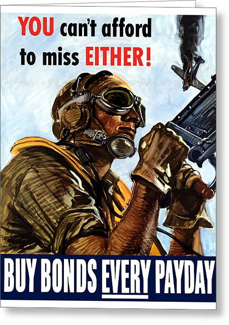 Fighter Planes Greeting Cards - Buy Bonds Every Payday Greeting Card by War Is Hell Store