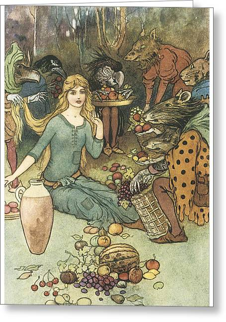 Warwick Paintings Greeting Cards - Buy from us with a golden curl Greeting Card by Warwick Goble